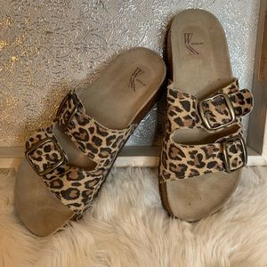 White Mountain Leopard Print Leather Sandals